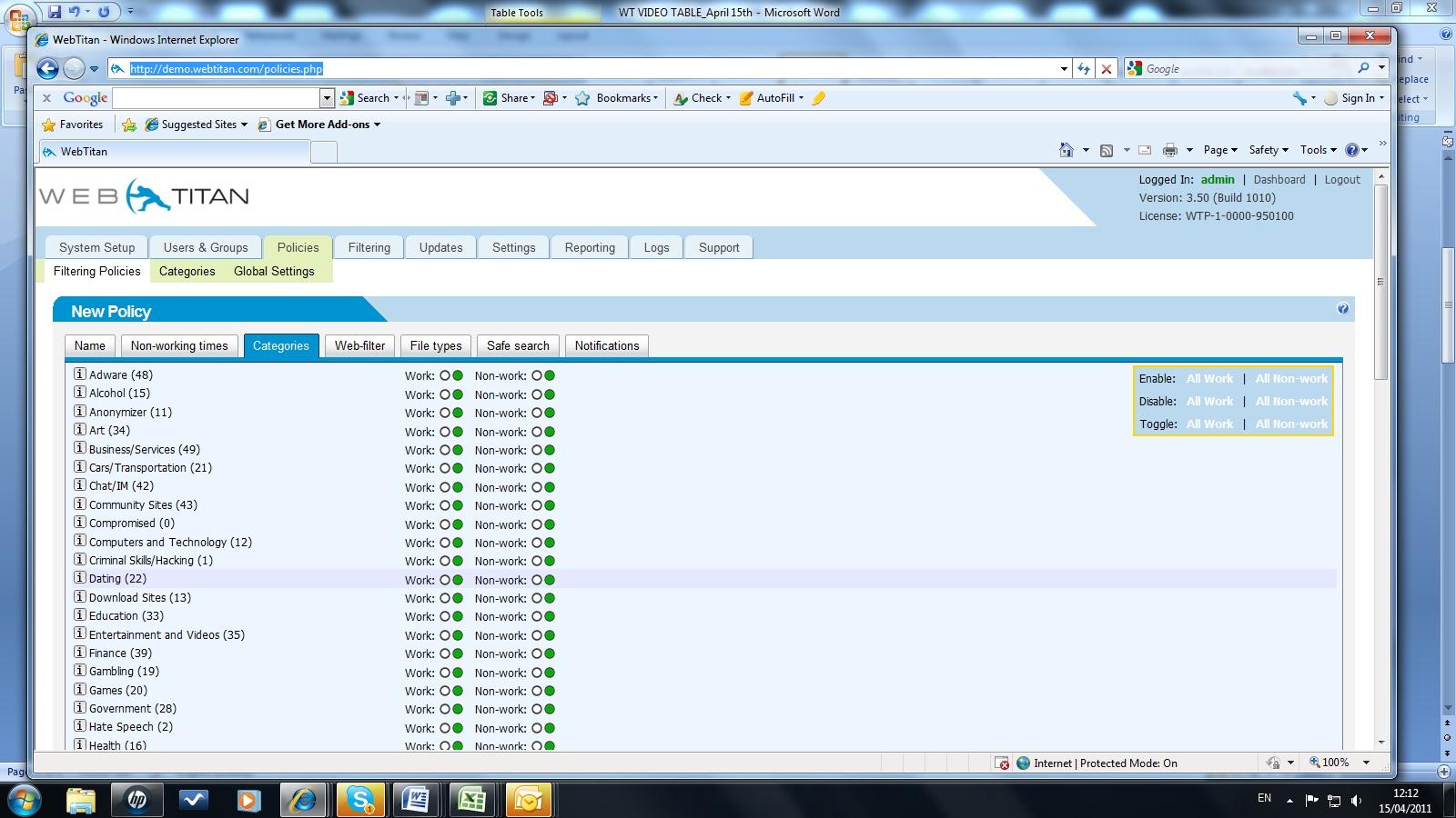 DNS filtering Categories